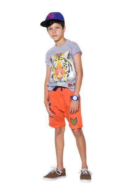 Bermuda infantil para meninos super confortável cor laranja tecido tipo moleton! Camisa cinza com silk infantil para meninos com estampa de tigre. Que tal fazer este conjunto para seu príncipe ficar ainda mais estiloso?