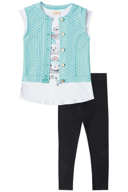Blusa + Colete + Calça Legging - Infantil Kukiê Feminino