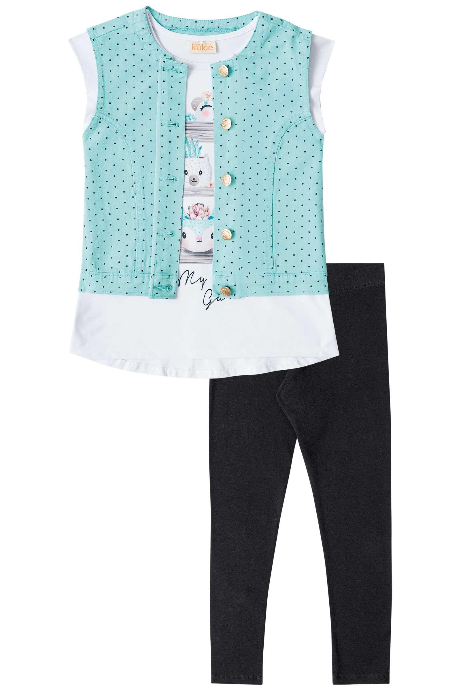d13489bf9d106e Blusa + Colete + Calça Legging - Infantil Kukiê Feminino