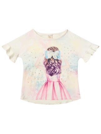 Blusa Infantil Feminina Infanti Cotton e Cetim com Strass