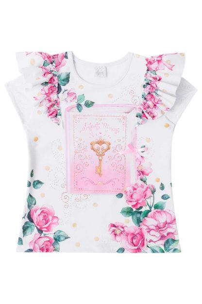 Blusa Infantil Feminina Infanti Floral com Strass