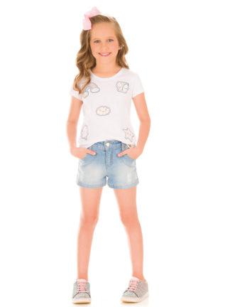 Blusa Infantil Feminina Kukiê em Malha cor Branca