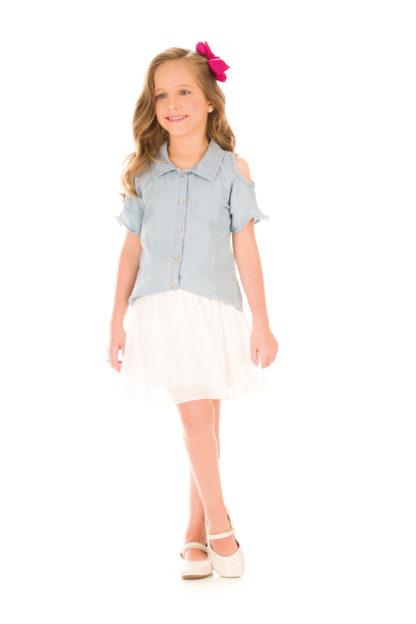 Camisa Jeans Infantil Feminina Kukiê Fashion Babados com abertura nos ombros