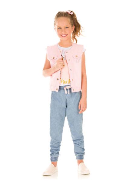 Colete Infantil Feminino Kukiê Rosa com Strass