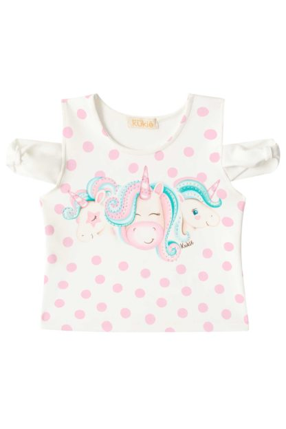 Camisa do Conjunto Infantil Feminino Kukiê Unicórnio