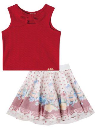 Conjunto Infantil Kukiê Ursinho com saia em tule