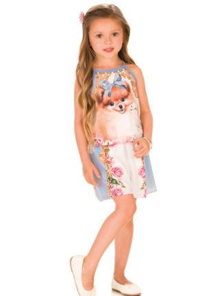 Macaquinho Infantil Feminino Infanti com Strass Estampa Cachorrinho