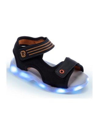 Sandália Infantil Masculina Pimpolho Preta com LED Azul