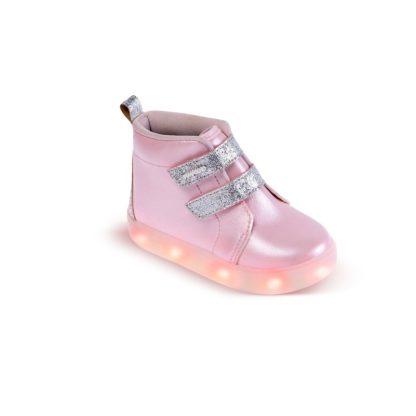 Tênis Infantil Feminino Pimpolho Rosa e Prata com LED