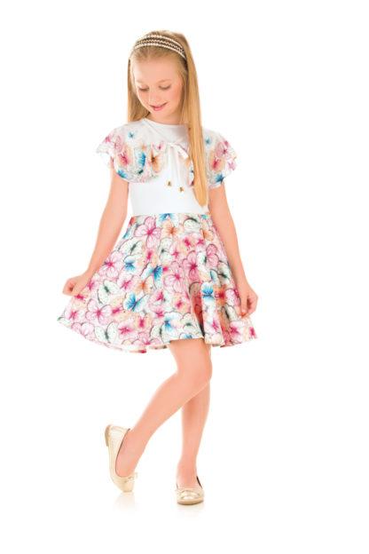 Vestido Infantil Kukiê Estampado com Borboletas estilo Bolero