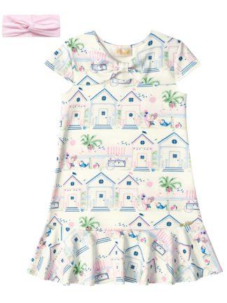 Vestido Infantil Kukiê Casinhas Azuis