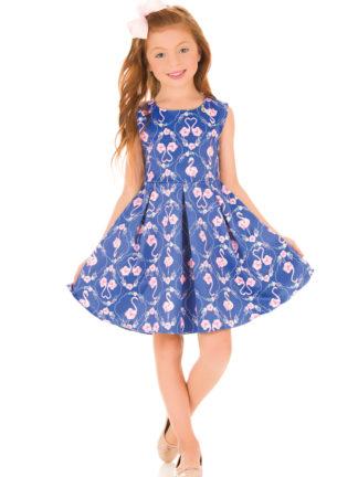 Vestido Infantil Kukiê Flamingo Cor Azul