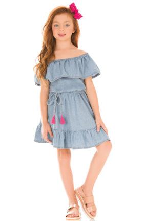 Vestido Infantil Kukiê Jeans Tomara que Caia