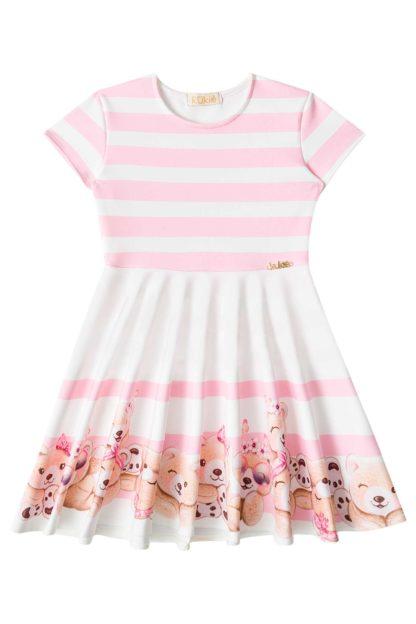 Vestido Infantil Kukiê Ursinho Rosa Listas Brancas