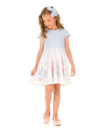 Vestido Infantil Kukiê Unicórnio Azul Claro