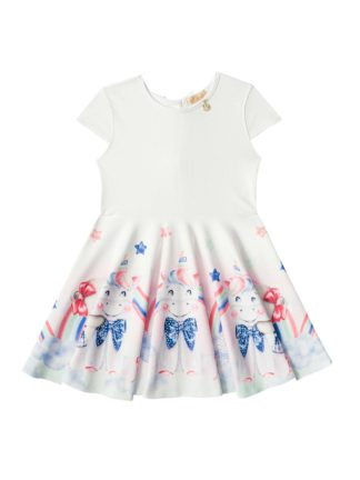 Vestido Infantil Kukiê Unicórnio Branco