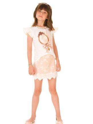 934a5adfee Vestido Infantil Luluzinha Kids Estampado com Pássaros - Pamplemousse