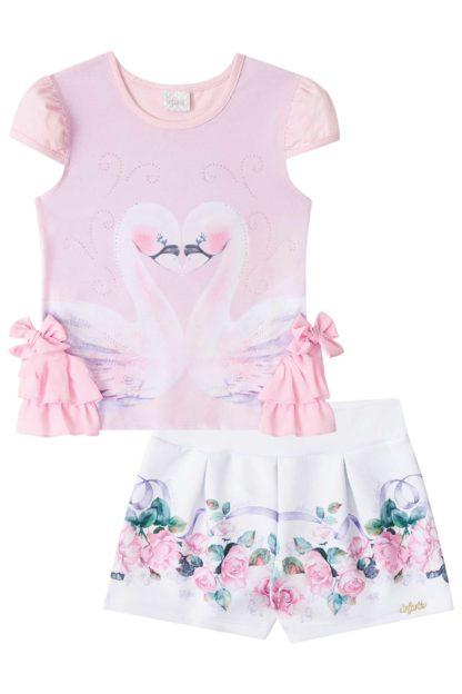 Conjunto Infantil Feminino Infanti Estampa Cisnes Rosa