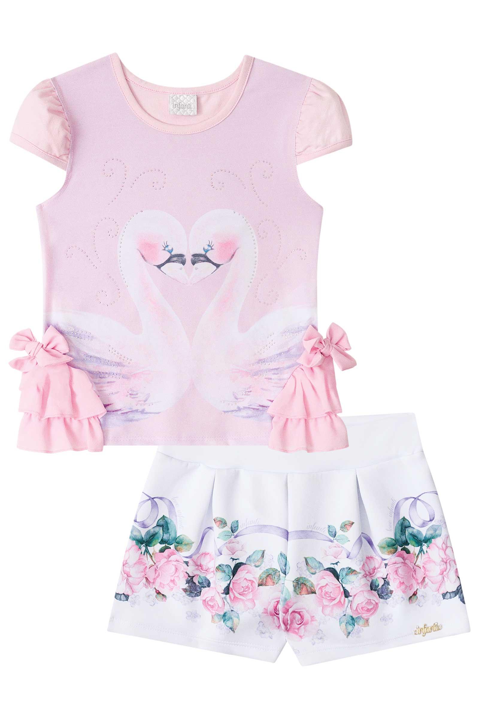 fab6d00b0 Conjunto Infantil Feminino Infanti Estampa Cisnes Rosa - Pamplemousse