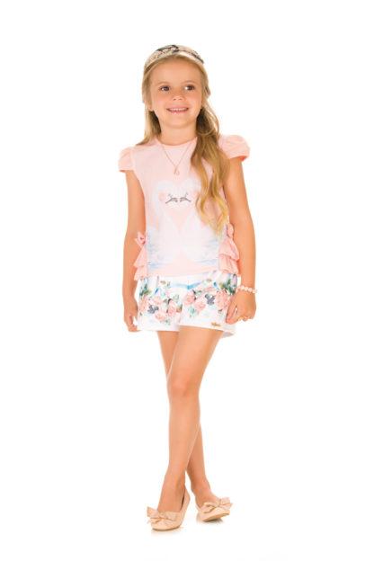 Conjunto Infantil Feminino Infanti Estampa Cisnes Rosa Salmão