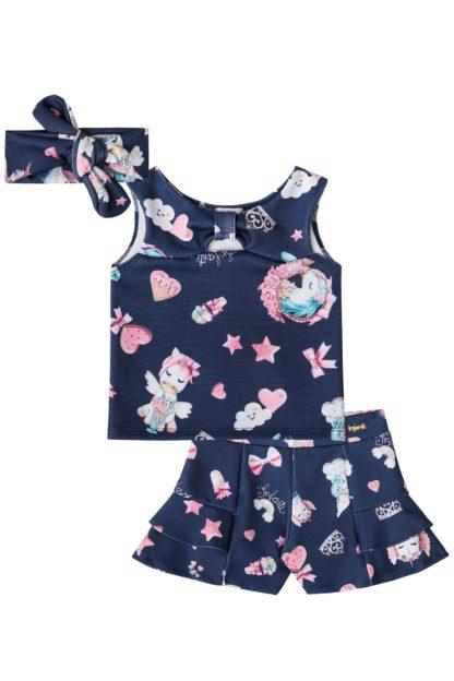 Conjunto Infantil Infanti Feminino Azul com estampa de Unicórnio