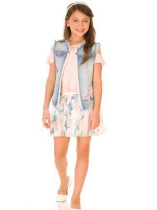 conjunto-infantil-infanti-saia-colete-jeans-floral-pamplemousse