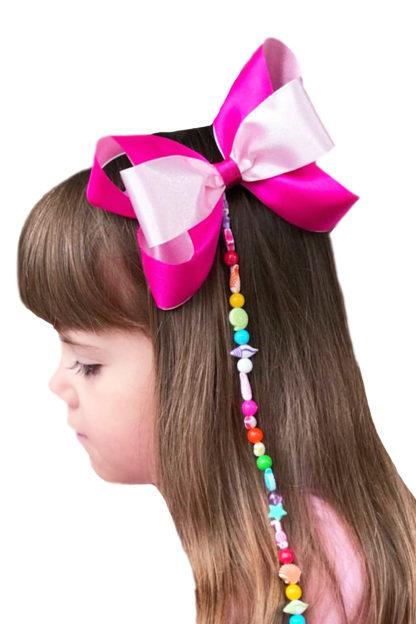 Laço infantil para cabelo Rosa com tererê. Lacinho para menina Rosa com tererê.