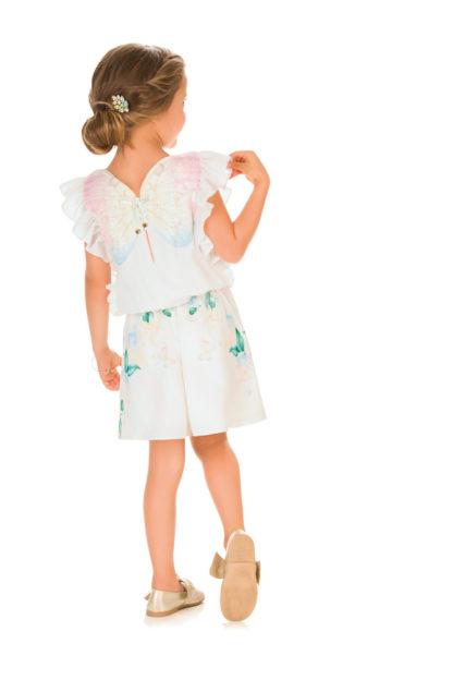 Macaquinho Infanti Feminino em Crepe Floral
