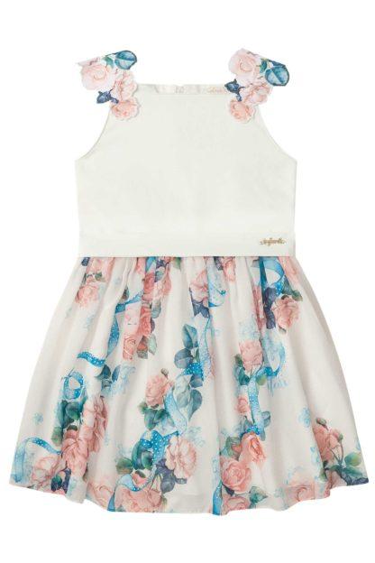 Vestido Infantil Infanti Floral Off White