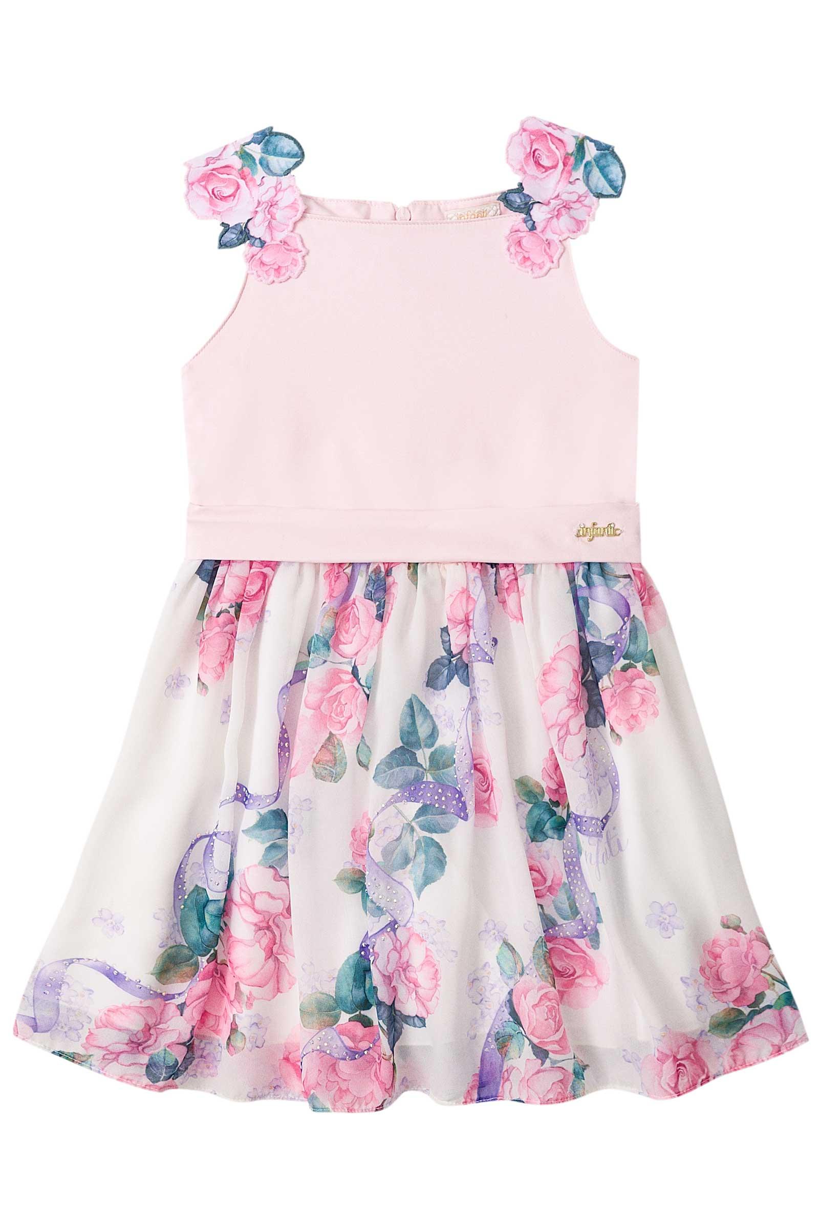 4a681f453 Vestido Infantil Infanti Floral Rosa - Pamplemousse