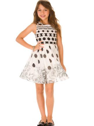 Vestido Infantil Infanti Preto e Branco de Poá