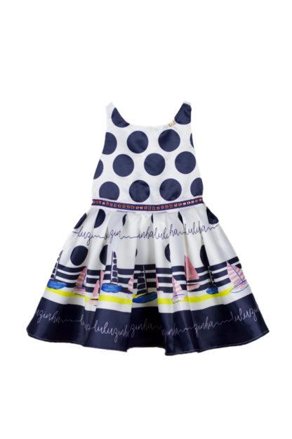 Vestido Infantil Luluzinha Kids Poá Azul Laços nas costas
