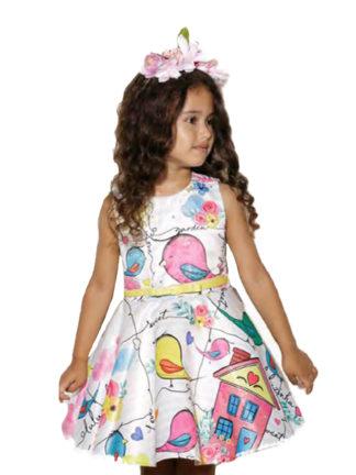 Vestido dos sonhos, tão lindo que parece ter saído de um conto de fadas! Com estampa de pássaros, flores e strass é perfeito, e ainda vem com um cintinho super fashion! A sua princesa ficará deslumbrante.