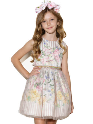 3cadd19cbd Vestido Infantil Feminino Luluzinha Kids Rodado Floral com Fundo Listrado