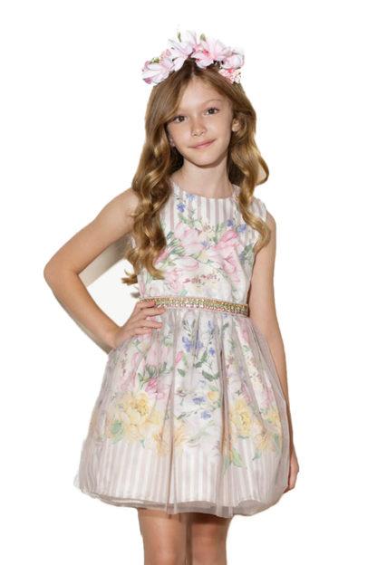 Vestido infantil de festa rodado com estampa floral e cintinho em pérolas e strass! Sua princesa será a mais bela da festa! Simplesmente apaixonadas por este vestido! Vestido Luluzinha Kids para meninas.
