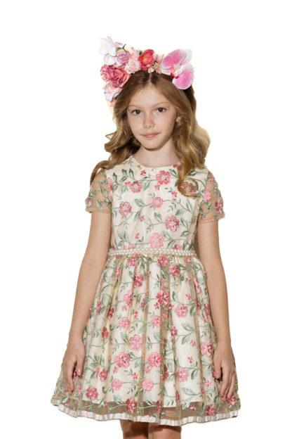 Vestido Infantil Luluzinha Kids em Tule com Bordado Floral