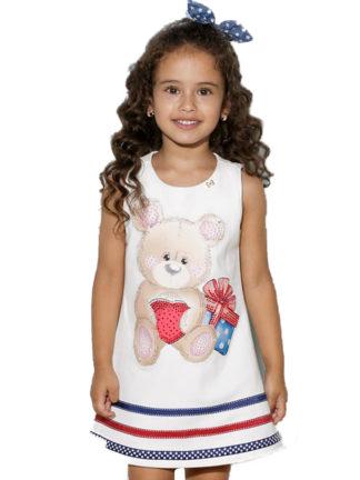 Vestido fofo e muito elegante! Na cor off-white com uma estampa de ursinho toda em strass. Irresistível!! Este vestido fica ótimo para uma festa ou um evento em família! A sua princesa irá ficar muito charmosa!!