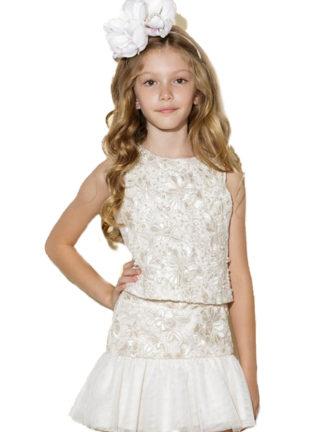 Conjunto Luluzinha Kids maravilhoso e super elegante! Blusa rendada com detalhes em strass e short saia com pérolas.