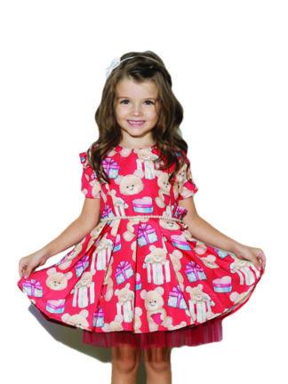 Vestido Luluzinha Kids muito fofo!! Lindo com estampa de ursinho e presentes! Com cintinho de pérolas e strass nos detalhes do vestido!!
