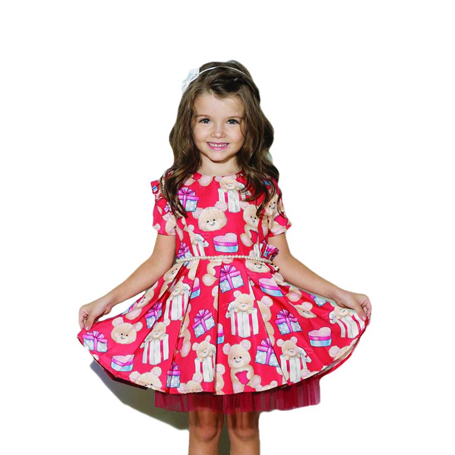 734d53023f Vestido Luluzinha Kids muito fofo!! Lindo com estampa de ursinho e  presentes! Com