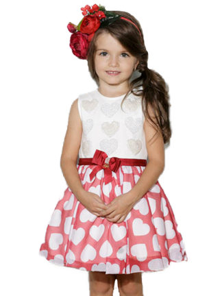 Vestido infantil Luluzinha Kids rodado com saia de corações